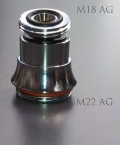 M18 AG auf M22 AG Gewindeadapter mit Kugelgelenk